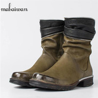 Mabaiwan 2017 Black Fashion Women Shoes Winter Autumn Ankle Boots Genuine Leather Shoes Women Snow Militar Martin Flats Boots