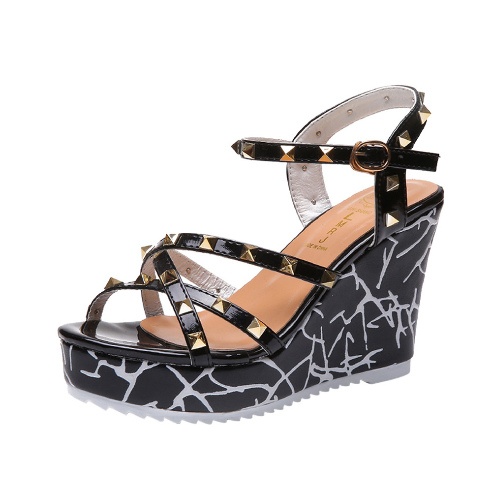 Zapatos Mujer 2018 Shoes Woman Sandals Wedge Summer Lady Fashion High Heels Sandals Elegant Rivets Women Shoes Platform Wedges 10