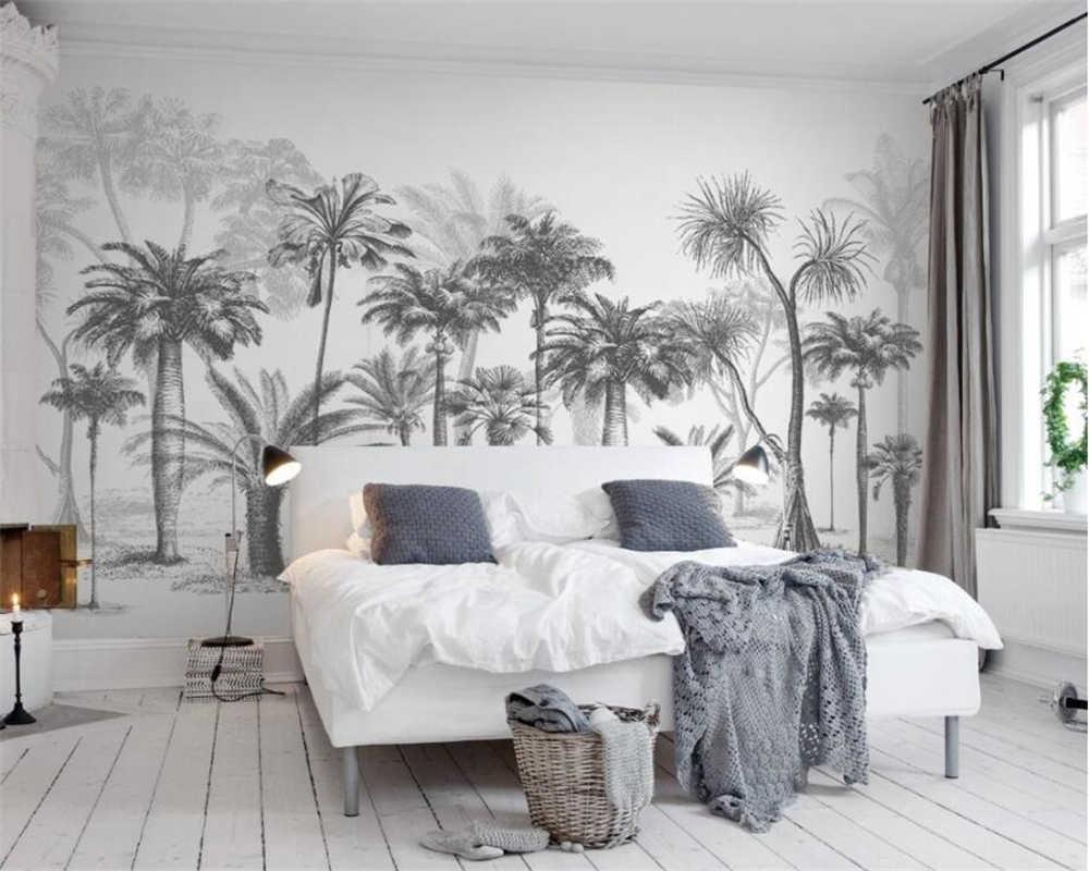 Beibehang מותאם אישית טפט שחור ולבן גדול עץ יער גשם טרופי קוקוס עץ מודרני טלוויזיה ספת רקע קיר 3d טפט
