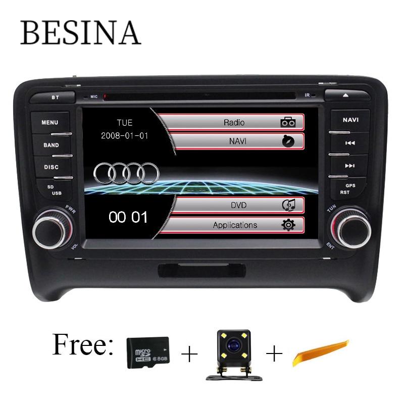 Lecteur DVD de voiture Besina deux Din 7 pouces pour AUDI TT 2006-2012 Canbus Radio GPS Navigation au volant carte de contrôle 1080P RDS USB