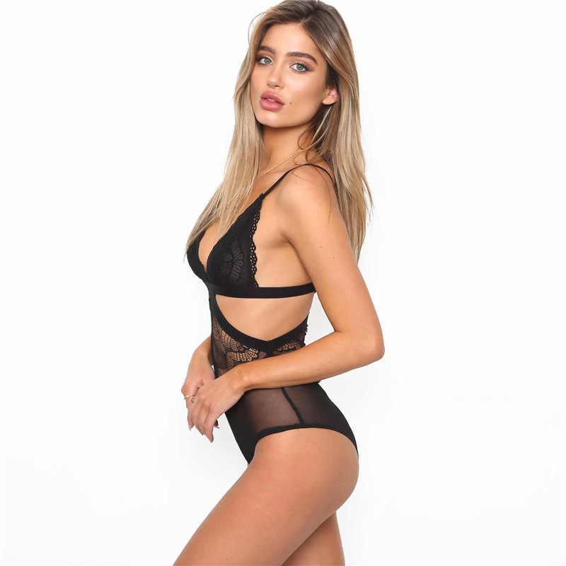 Traje de mujer Onesies Sexy Lencería poliéster hueco sin mangas elástico bolsa cadera negro mujer ropa Sling Girl CLOTH 1161
