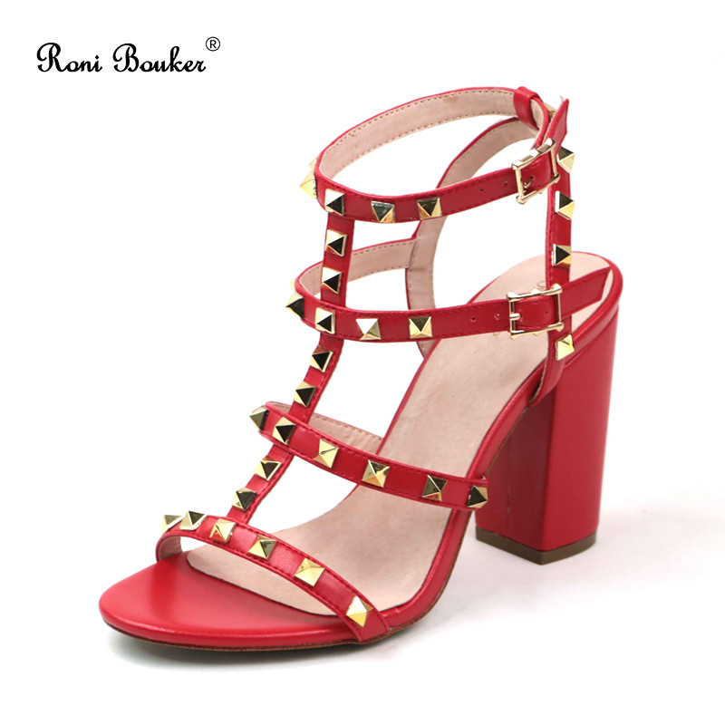 Roni Bouker Wholesale New Summer 2018 Lady Straps Buckle Genuine Leather Handmade Shoes Women Chunky High Heels Studs Sandals
