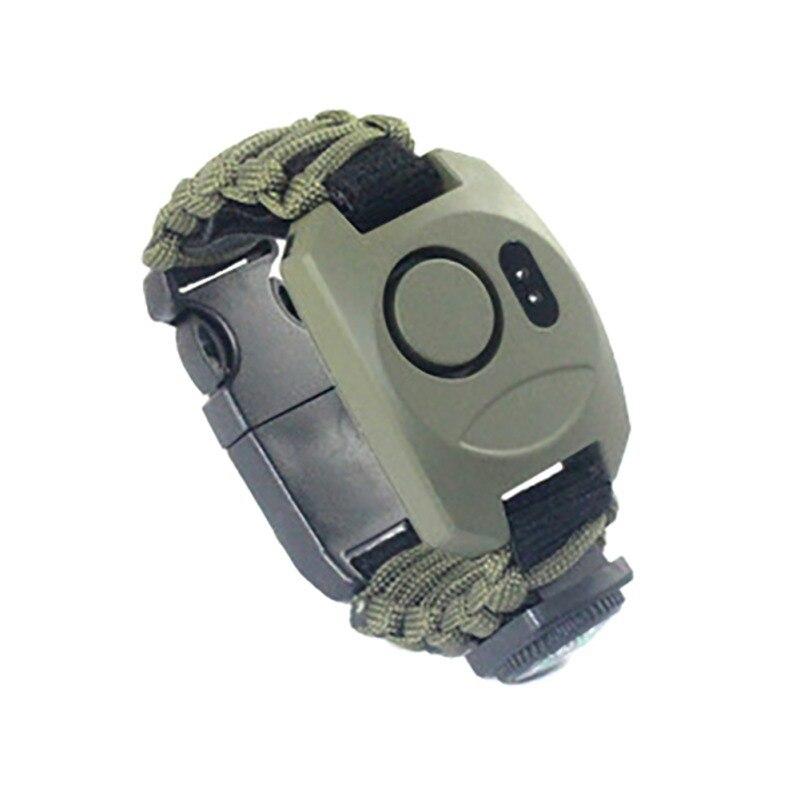 Outdoors Multifunctional Outdoor Adventure Survival SOS Emergency Light Bracelet High Decibel Alarm Bracelet Adjustable Size