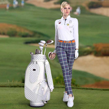 PGM Golf PU Leather Bag Men & Women Standard Durable Golf Bag Vintage Plaid Golf Club Bag Lady Bolsa de Golf Training Equipment