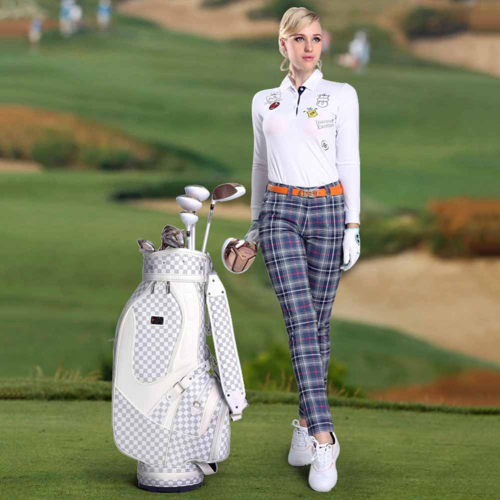 Super Brand Golf PU Bag Set For Men and Women Standard Durable Golf Bag Plaid Golf Club Bag Golf Training Equipments top quality dragon golf club set bag sport golf clubs bag high grade pu golf bags practice golf sets 3 colors are available