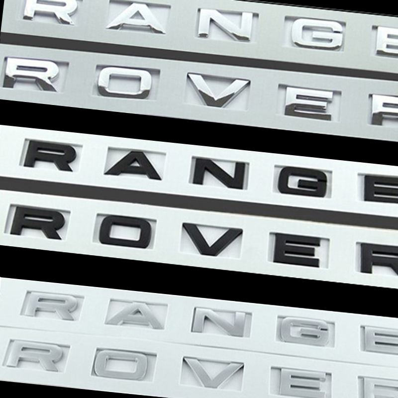 ABS Sticker for Range Rover Letters Logo Emblem Black Silver Chrome Matte Red Carbon Fiber Pattern french keyboard keys letters sticker black