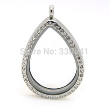 Top quality Stainless Steel Crystal Magnetic Silver Water Drop Floating Locket Pendants