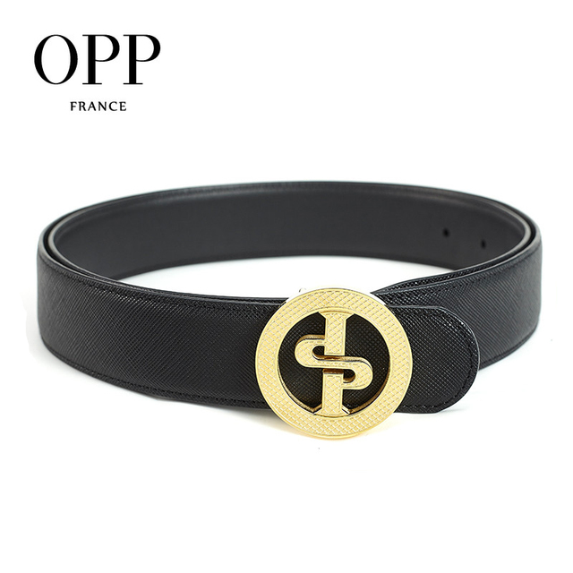 OPP Men's Belt Fashion Business Casual Leather Belt Round Buckle Metal Needle Gold Buckle Men's Black Belt