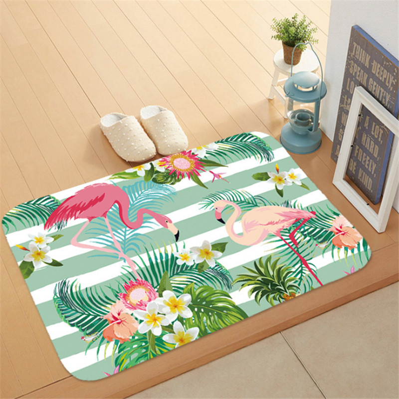1pc Flamingo HD Printed Non-Slip Bath Mat Absorbent Waterproof Home Decor Flamingo Doormat Flamingo Party Supplies Wedding GiftS 4