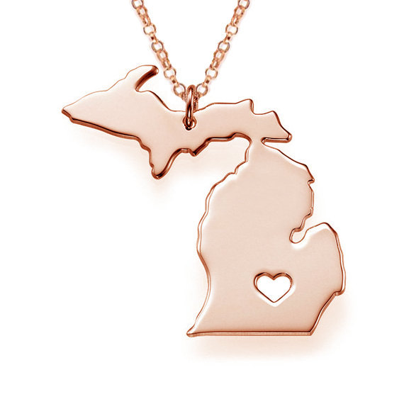 Fashion Women Street Necklaces Michigan State pendant Necklace MI State Map Statement Necklaces Charm short Necklace jewelry