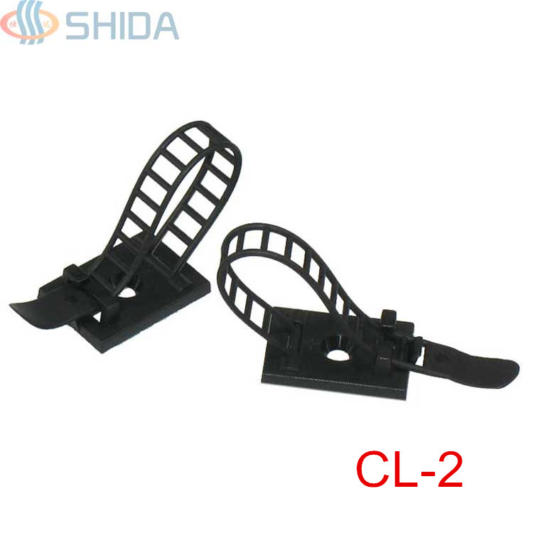 50PCS CL 2 White And Black Sticky Adjustable Wire Ties Cable Clips Clamp Plastic Self Adhesive Fix Holder