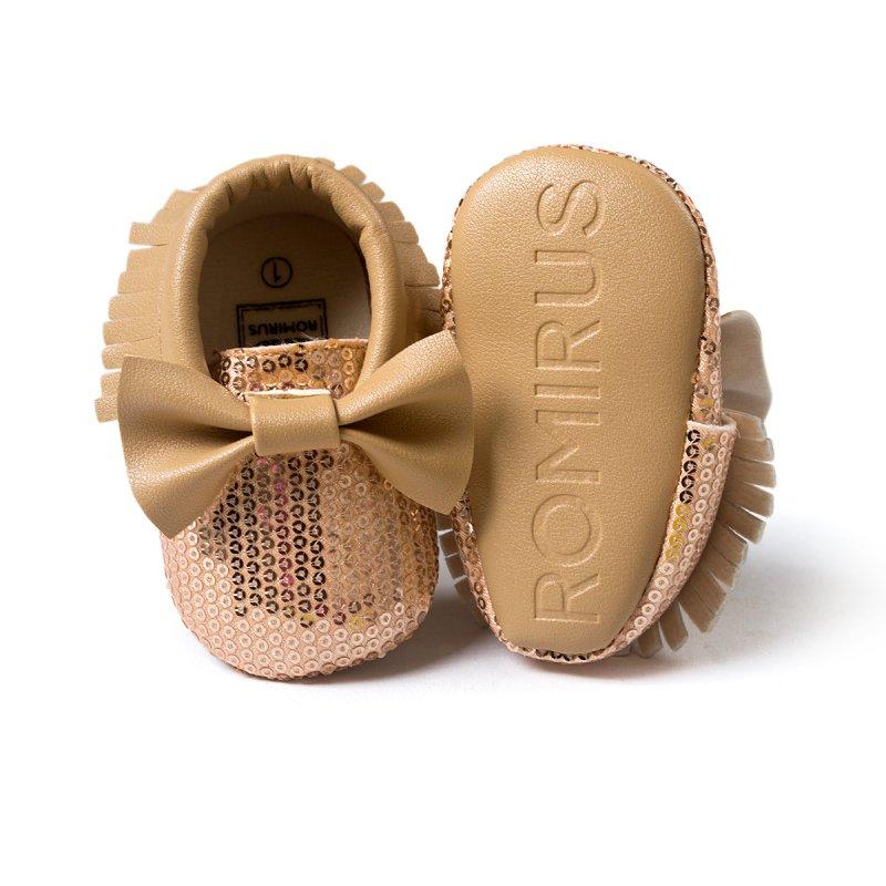 Baby Moccasins Infant Toddler Boy Girls Comfy Soled Fringe Leather Bling Sequin Shoes 0~18Month