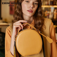 EMINI HOUSE Fashion Round Bag Luxury Handbags Women Bags Designer Split Leather Crossbody Bags For Women Shoulder Bag Shoulder Bags