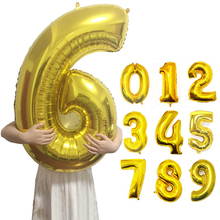 40inch Gold Silver Number Foil Balloons Digit Air Ballon Happy Birthday Wedding Decoration Letter Balloon Event Party Supplies.J