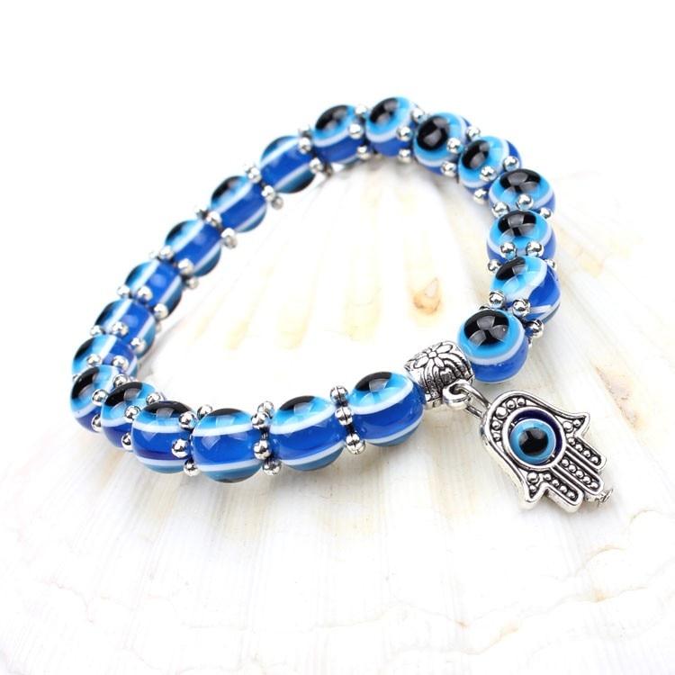 New Fashion Einfache Evil Eye Hand religiösen Charme blauen Perlen Lucky Armband Best Match türkischen Armband für Frauen