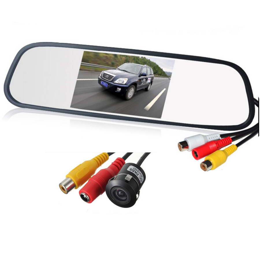 цена на Waterproof Rear Camera Mirror Car Rearview Parking Camera with 4.3 Inch TFT LCD Monitor for Reversing Backup Parking Assitance