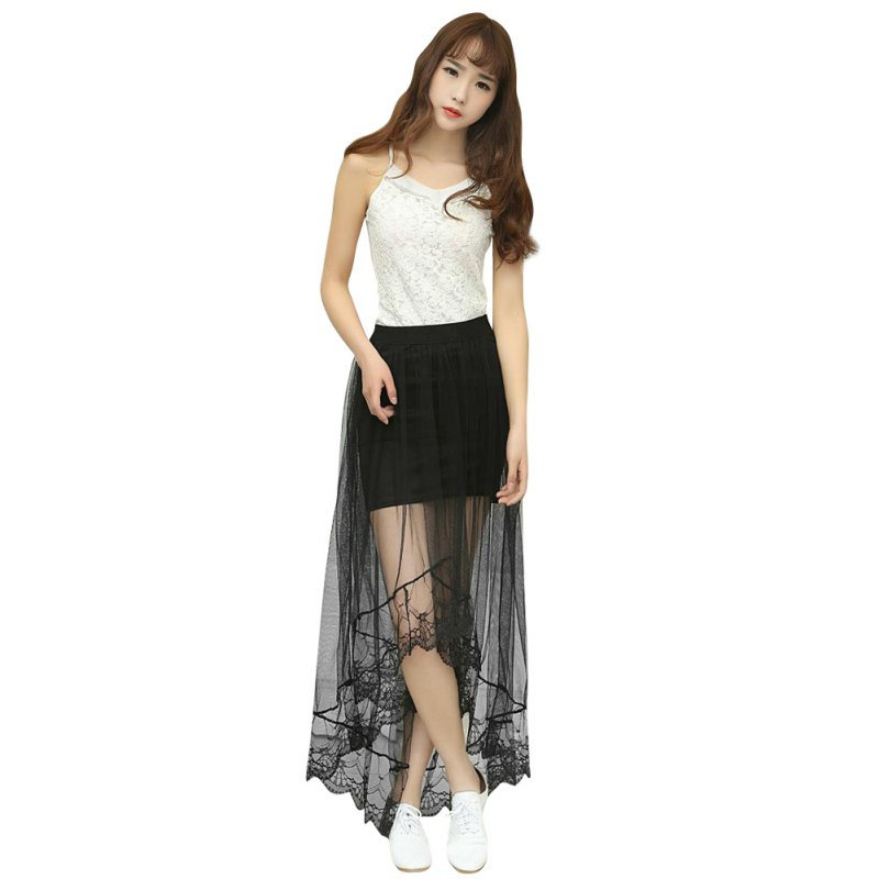 2017 Summer New Women Sexy Romantic Transparent Lace Skirts Long Section Skirt Jupe Tulle Black White Short Skirt