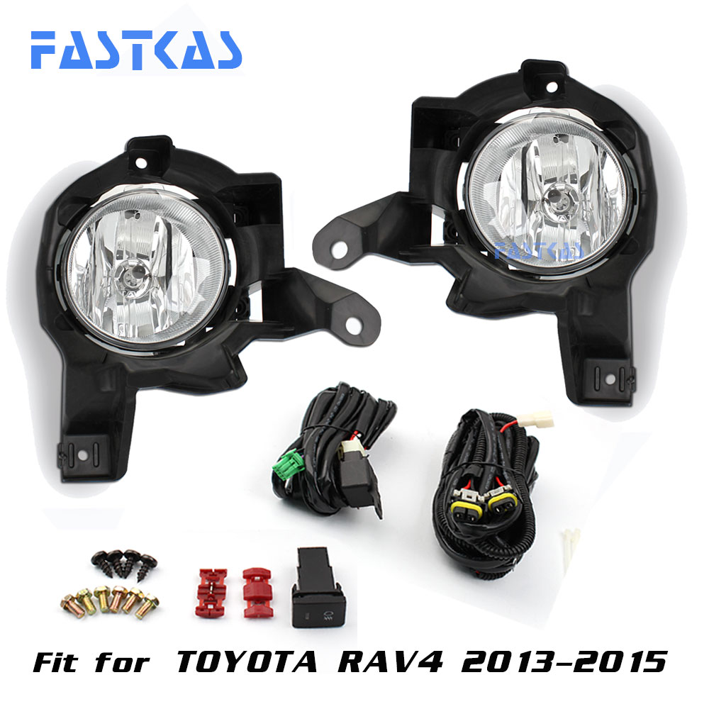 12v Car Fog Light Assembly for Toyota RAV4 2013-2015 Front Left and Right set Fog Light Lamp with Harness Relay Fog Light 2 pcs set car styling front bumper light fog lamps for toyota venza 2009 10 11 12 13 14 81210 06052 left right