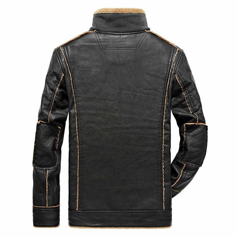 Винтажная зимняя кожаная куртка мужская повседневная Толстая теплая подкладка из шерсти ветровка мото & Мужская мотоциклетная куртка с длинным рукавом кожаное пальто для мужчин