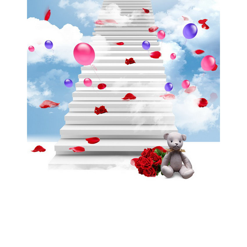 Vinyl Photography Background Computed Printed Clouds Balloon Stairs Children Backdrops for Photo Studio S-2216