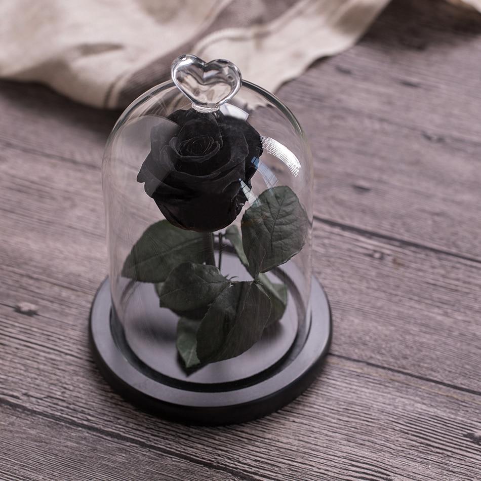 Вечный цветок розы с любовью стекло черный чехол искусственный цветок подарок на год Валентина Рождество Gif хорошее украшение дома