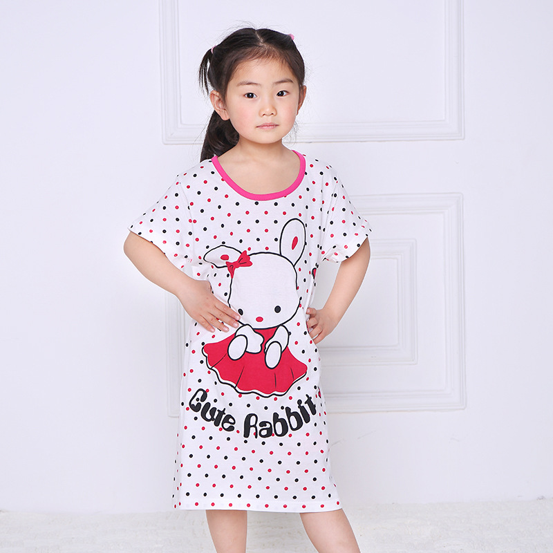 Girl Kids Pyjama Nightie Dress Cartoon Sleep Wear Print Nightgown Pajama Nightie Cute Princess Dress 100% Cotton 2017 Hot Sale all over cartoon print pajama set