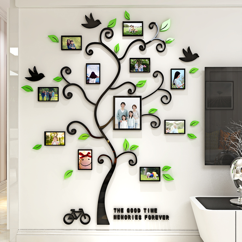 Acrylic Photo Frame wall Family memory Tree Stickers 3d Three dimensional Wall sticker home decor Living room in Wall Stickers from Home Garden