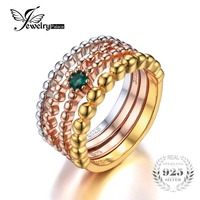 JewelryPalace 925 Sterling Silver Created Nano Russian Emerald 3 Tone 4 Rope Band Stackable Ring Set
