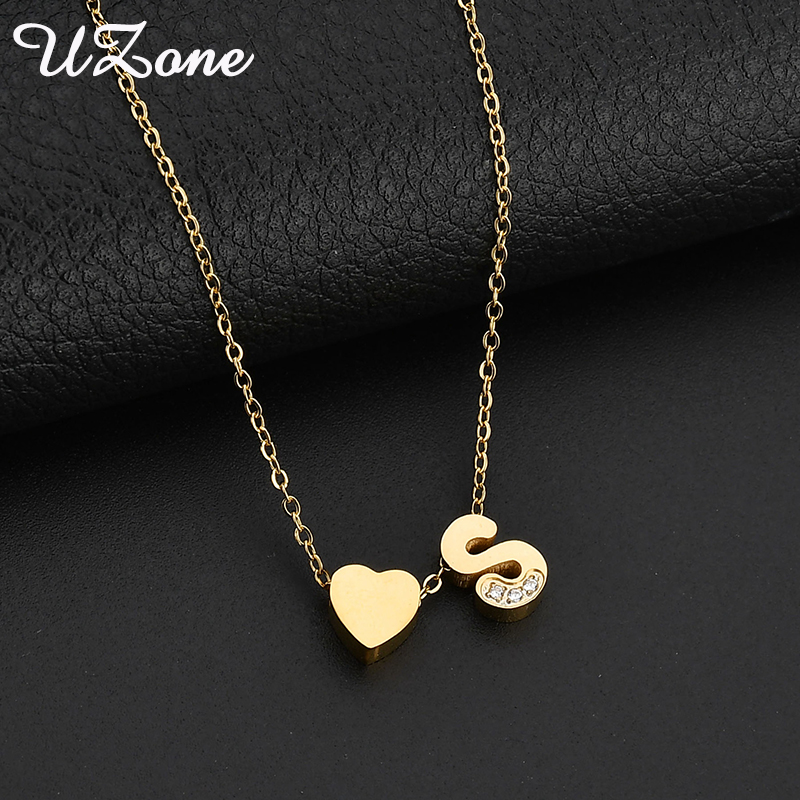 UZone Tiny Dainty Heart Initial Necklace Stainless Steel Personalized Initial Name Necklace For Women Gift big toe sandal