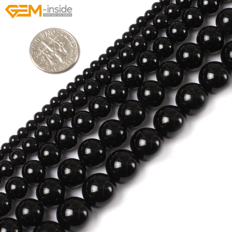 Gem-inside 2-20mm Natural Stone Beads Round Smooth Black Agates Beads For Jewelry Making Beads 15'' DIY Beads Gift