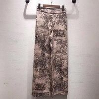 Women Long Pants Loose Elegant High Waist Silk Print Pants For Lady 2019 New Fashion Women Pants