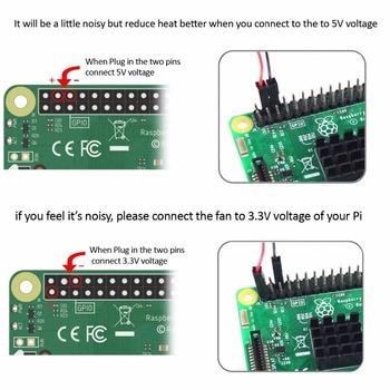 Ventilador de refrigeração 5V / 3.3V com parafusos + Dissipador de calor 1 Alumínio com 2 Cobre para Raspberry Pi 3 / Pi 2 Modelo B RPI B + 1