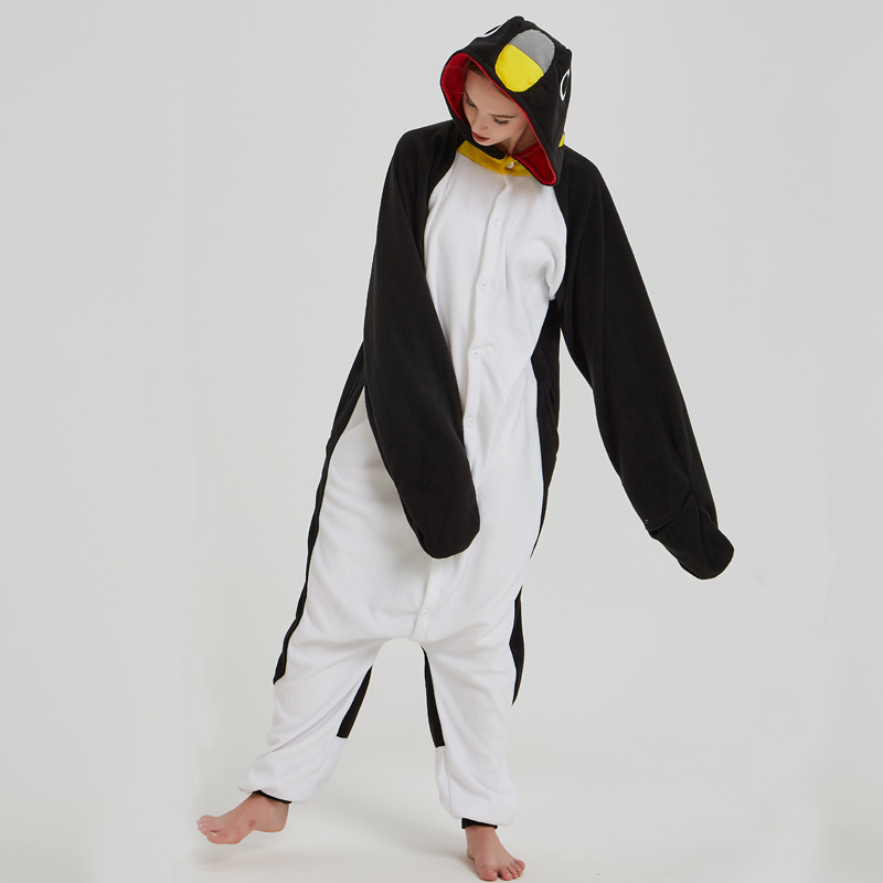 Adorable Black Penguin Kigurumi For Adult Pajamas Warm Polar Fleece Onesie For Halloween One-piece Cute Jumpsuit Cosplay Custome (4)