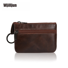 2019 Genuine Cow Leather Coin Purse Vintage ID Credit Card Holder Men Women Wallet Solid Small Bag Mini Purse Seven Color
