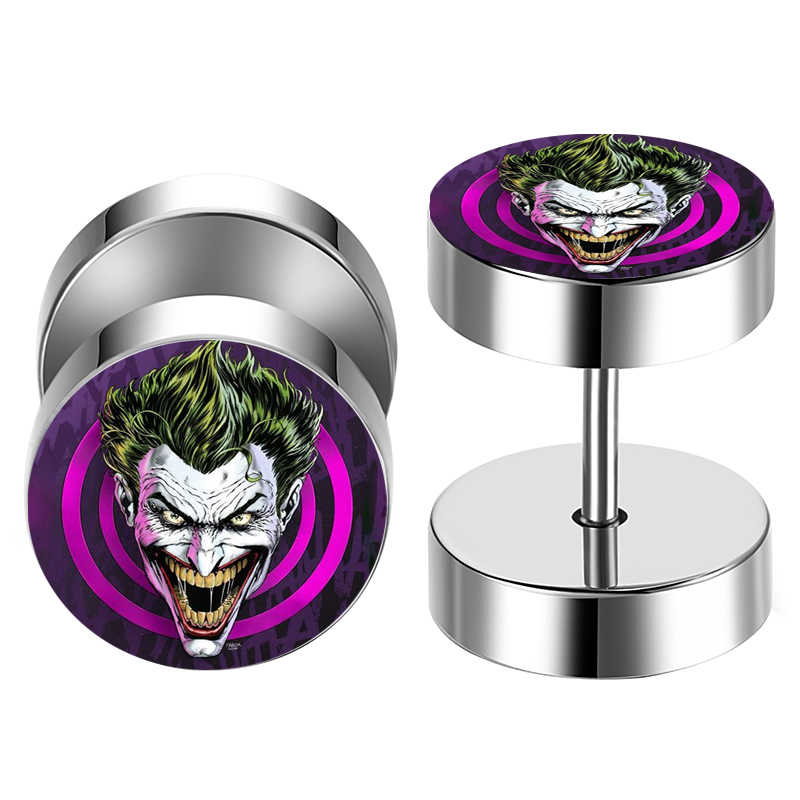 2 pcs/Lot Batman Joker Stainless Steel Fake Cheater Ear Tunnel Plugs Piercing Barbell Unisex Stud Earring FEP_JOKEF1