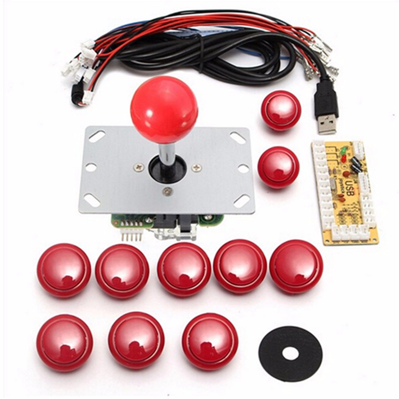 DIY Håndtag 8 Way Arcade Joystick Kits 5 Pin 24mm / 30mm Push Button Udskiftning Arcade Set Kabel USB Encoder Til PC Joystick Spil