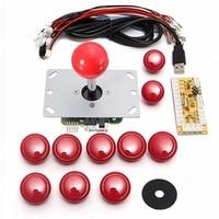DIY Arcade Set Kits 5 Pin Joystick 24mm 30mm Push Buttons Replacement Parts USB Cable Encoder