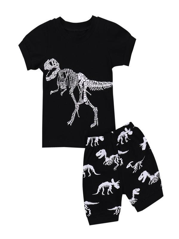 2PCS Kids Baby Boys Girls Pajamas Cartoon Dinosaur Tops Pants Home Outfits