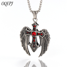 OQEPJ New Fashion Eagle Wings Red Cubic Zircon Cross Domineering Necklace Pendant 316L Stainless Steel Men Jewelry Unique Gifts