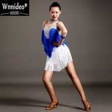 Ballroom Dancing Elegant Women Adults Latin Dance Dress Fringed Tassel Sequins Skirt Dresses Tango Salsa 3 Color