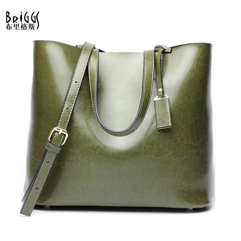 BRIGGS Brand Split Leather Handbag Women Casual Tote Vintage Shoulder Bag For Ladies Messenger BagsBRIGGS Brand Split Leather Handbag Women Casual Tote Vintage Shoulder Bag For Ladies Messenger Bags