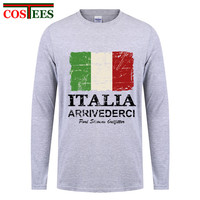 Élégant Vintage Italie Drapeau T Shirt Hommes Hommes de Printemps Automne personnalisé Imprimé Graphique À Manches Longues De Base Italia Nation Drapeau Rétro chemise