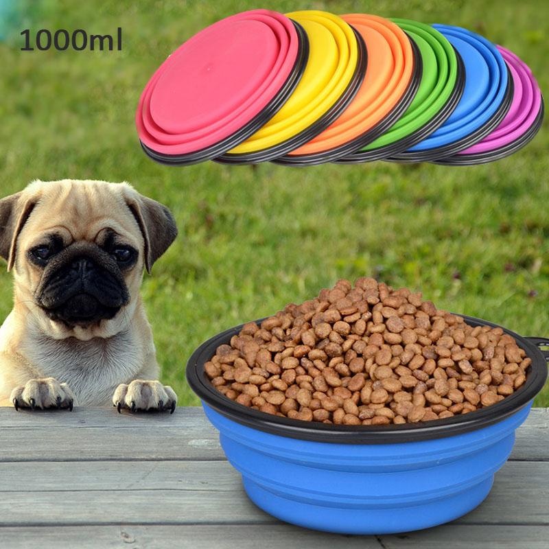 Folding Silicone Dog Bow Outfit Portable Travel Bowl Dog Feeder Water Food Container Small Medium Big Dog Pet Accessories
