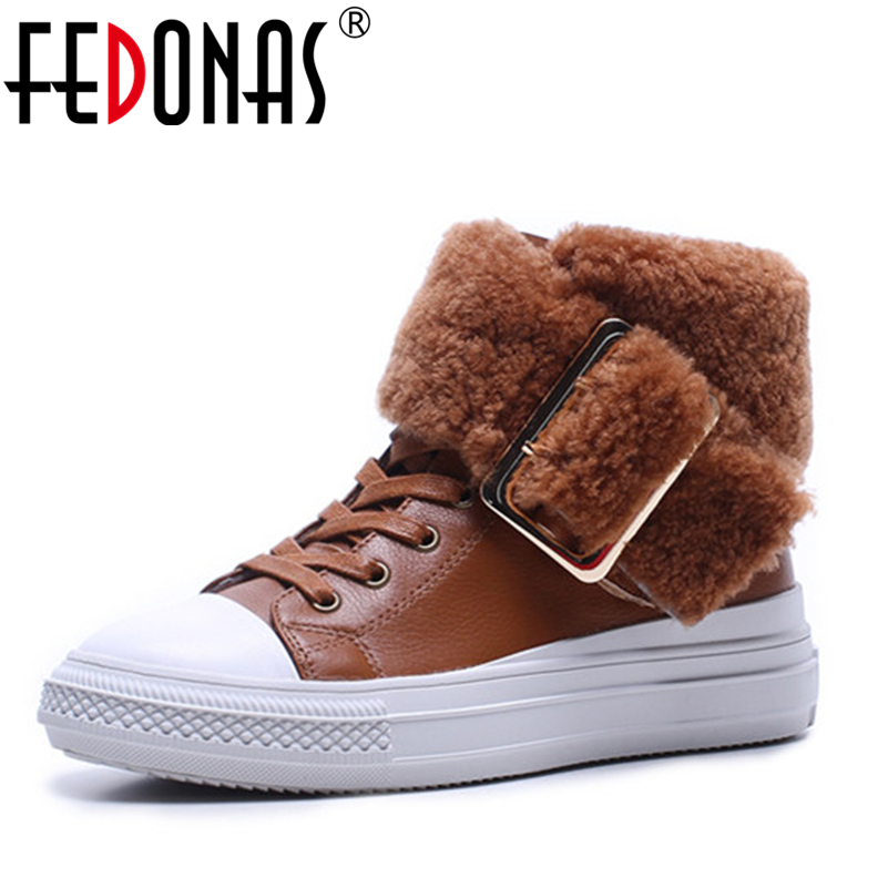 FEDONAS Top Quality Fashion Genuine Leather Snow Boots Women Winter Wool+Plush Ankle Boots Women Wedges Heels Martin Shoes Woman sexemara brand 2016 new collection winter boots for women snow boots genuine leather ankle boots top quality plush botas mujer