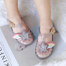 Mini Melissa Original 1:1 Girls Sandals 2019 Summer New Baby Shoes Rainbow Princess Non-slip