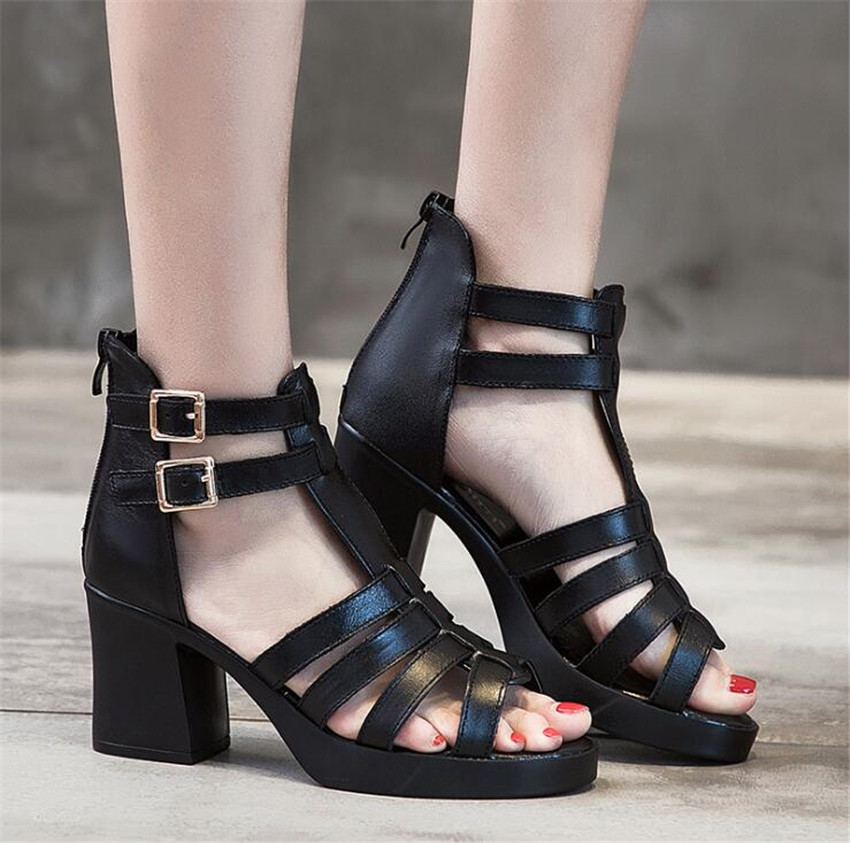 ZOUDKY Leather thin and pointed hollow Rough and pointed buckle Calf skin shoes