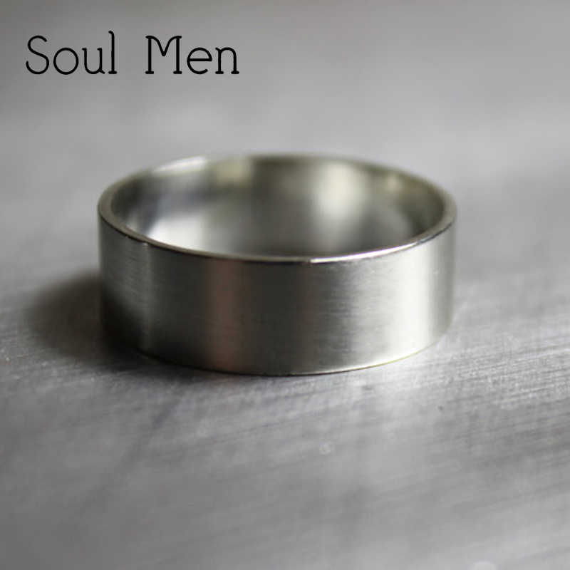 b67d565da880f Soul Men Classic & Stylish 925 Sterling Silver Rings 7mm Flat Matte Wedding  Band for Women Girl Free Engraving Name Date