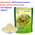 Free shipping 17.6oz 500g/lot 100% Natural wild harvested broken-cell pine pollen powder 100g*5bags  best GMP factory produced