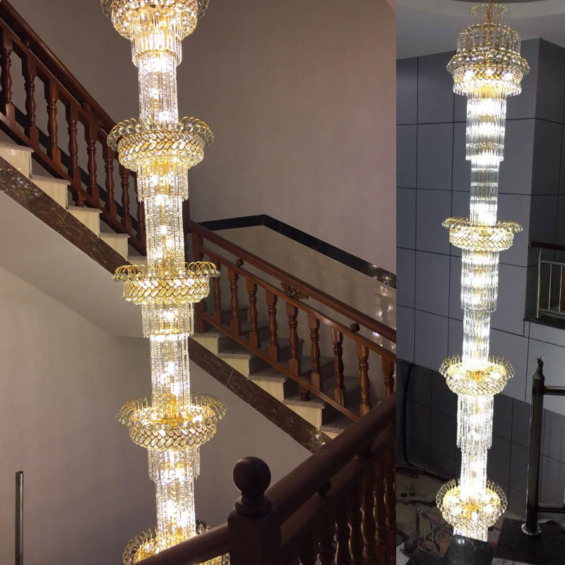 Stairs Crystal Chandeliers Villa Long Chandelier Luxury Duplex Floor Lamps House Living Room Gold Staircase