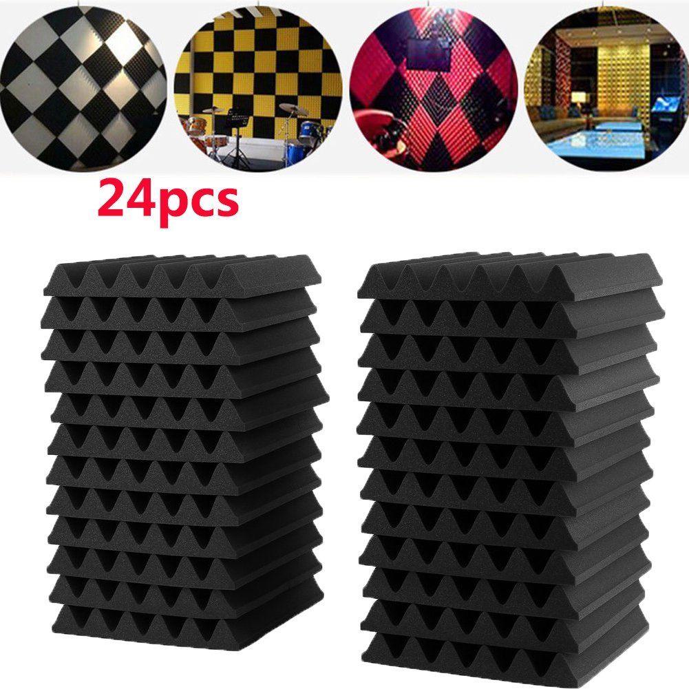 24Pcs 30X30X3CM Soundproofing Foam Acoustic Foam Sound Treatment Studio Room Absorption Wedge Tiles Polyurethane foam sound absorption coefficient analysis